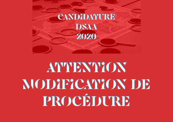 Attention, modification procédure : candidature DSAA Design écoresponsable 2020